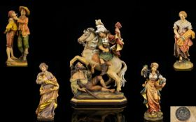 Italian - Excellent Collection of Signed Hand Painted and Carved Wooden Figures ( 5 ) Figures by