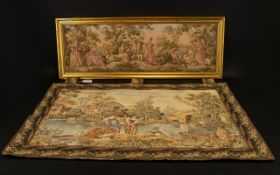Mid- Late 20th Century Framed Tapestry Panel Jacquard panel depicting maidens in garden setting.