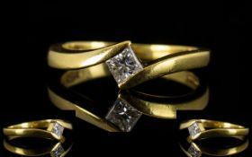18ct Gold Contemporary Single Stone Diamond Dress Ring of Simple bur Pleasing Design.