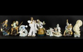 A Collection Of Modern Oriental Ceramics To include various figures including dragon, fisherman,