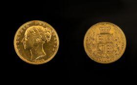 1871 Victorian Shield Back Full Sovereign London Mint,