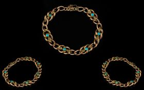 Victorian Period - Attractive Ladies 9ct Gold Turquoise and Seed Pearl Set Bracelet with Good Clasp