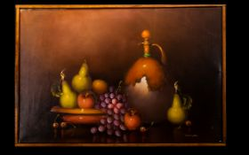 Oil On Canvas Still life with oil bottle and fruit, signed 'Frank Lean' to lower right, unglazed,
