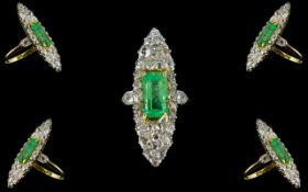 Art Deco Period - Ladies 18ct Gold and Platinum Superb Quality Signed Gattle Diamond and Emerald