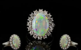 18ct White Gold Attractive Diamond and Opal Set Cluster Ring, Flower head Design,