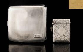 Edwardian Period Silver Vesta Case, Vacant Cartouche, Hallmark Birmingham 1902.