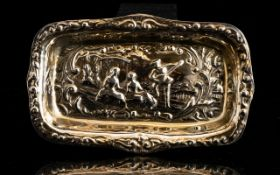 Cooper Brothers Embossed Silver Pin Dish Rectangular form dish with embossed serenading scene,