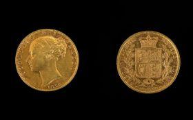 1872 Victorian Shield Back Full Sovereign London Mint,