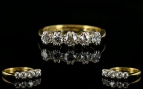 18ct Gold & Platinum 5 Stone Diamond Ring. Illusion set. Marked 18ct and Platinum.