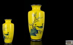 Japanese Superb Quality Signed Imperial Yellow Cloisonne Vase - depicts a blossom tree with single