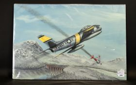Terry Farrimond 20thC A dog fight over a mountainous terrain - An American FU 857 in a fight over