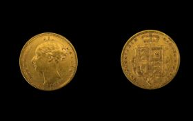 Queen Victoria 22ct Gold Young Head Shield Back Half Sovereign - Date 1883.