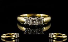 18ct Gold Three Stone Diamond Ring Set with three princess cut diamonds, fully hallmarked,