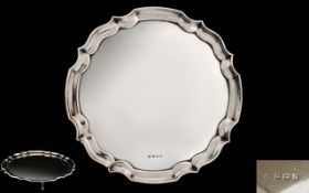 Queen Elizabeth II Impressive and Well Made Solid SIlver Circular Footed Tray / Salver with Pie