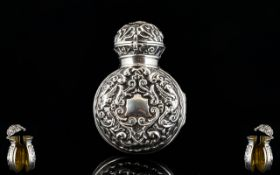 Victorian Period - Fine Quality Silver Gilt Lined Very Ornate Embossed Scent Bottle Holder / Case
