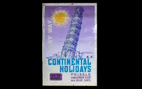 Graphic Design/Travel & Transport Interest 1960's Ribble Coaches Holiday Poster Depicting leaning