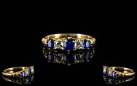 Antique Period - Attractive and Superb Quality 18ct Gold Sapphire and Diamond Set Dress Ring,