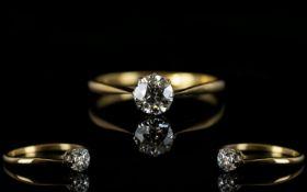 Antique Period 18ct Gold Single Stone Diamond Ring, Marked 18ct, Old Cut Diamond,