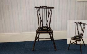 """Spindle Back Chair of small proportion, with padded petit point seat. Height 22"""". See photographs."""