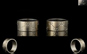 Gucci 18ct White Gold Guccissima Wedding Bands Two in total,