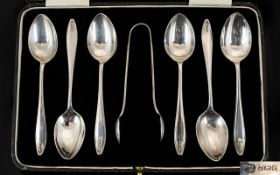Boxed Set of Six Sterling Silver Teaspoons with Matching Pair of Sugar nips.
