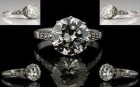 Superb Quality Platinum Set Single Stone Diamond Ring - From The 1930's. Marked Platinum.
