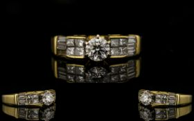 Ladies 18ct Gold Superb Quality Baguette And Brilliant Cut Diamond Set Dress Ring Fully hallmarked,
