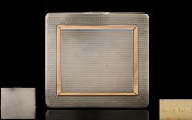 Art Deco Period Ladies Silver and Silver Gilt Bright Cut Hinged Case of Solid and Well Made
