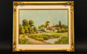 F.H Tyndale (c.1900-1920) A Farm Cottage By A Bend In The Road And A Bridge With Ducks In A Field