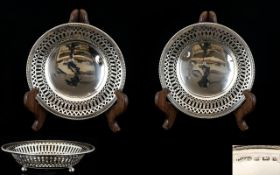Early 20th Century - Pleasing Pair of Open worked / Pierced Circular Silver Footed Sweetmeat Dishes