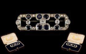 Art Deco Sapphire And Diamond Brooch Geometric rectangular design containing eight round cut blue