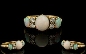 Antique Period 18ct Gold - Opal and Diamond Set Dress Ring - Gallery Setting of Pleasing Form.