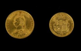 1887 Victorian Shield Back Half Sovereign Please see accompanying image for grading
