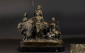 After Clement Masier 1847 - 1932 Cast Bronze Figure Group - Titled ' The Civilisation of America '