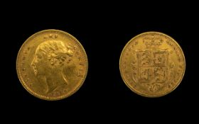 Queen Victoria 22ct Gold Young / Head - Shield Back Half Sovereign Date 1884.
