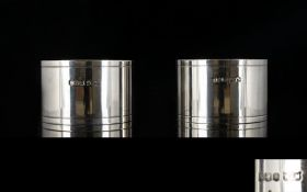 Mappin and Webb Pair of Boxed Solid Silver Napkin Holders of Plain Form.