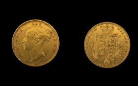 Queen Victoria 22ct Gold Young Head - Shield Back Half Sovereign - Date 1885.