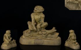 A Bronze Sculpture Of A Monkey On A Log Signed 'BARIE' Height 3 ¼ Inches.