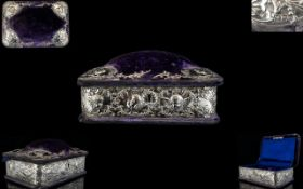 Art Nouveau Period Ladies Fine Quality Purple Velvet Covered Jewellery Box with applied banded and