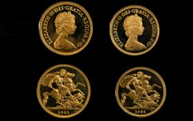 Royal Mint 1981 - 22ct Gold Proof Struck Full Sovereigns (2). Both sovereigns dated 1981.