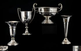 A Collection of Small Silver Vases & Twin-handled Trophy Cups, Four (4) Pieces in total. All
