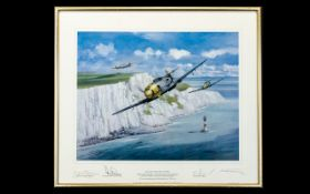 Aeronautic Interest Limited Edition Artist Signed Framed Print 'Eagles Over The Channel' By Michael