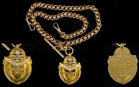 Antique Period Superb Quality 9ct Gold Double Albert Chain with T-Bar and Attached 18ct Gold and