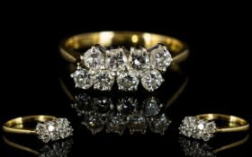 18ct Gold - Attractive Diamond Set Dress Ring of Pleasing Form,