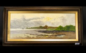 G Hare (circa 1930) An Approaching Storm by a Coastal Landscape Oil on Board signed size 9.5 by 23