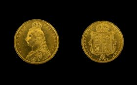 Queen Victoria - Superb 22ct Gold Shield Back Jubilee Half Sovereign - Date 1887, London Mint. E.