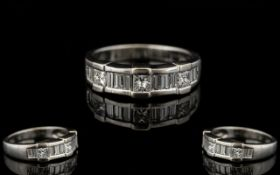 Contemporary Designed Nice Quality 18ct White Gold Diamond Set Ring.