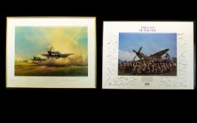 Aeronautic Interest Limited Edition Artist Signed Framed Print 'Hurricanes From Kenley' By Michael