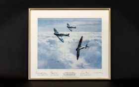 Aeronautic Interest Limited Edition Artist Signed Framed Print 'Spitfires In Sunshine' By Michael