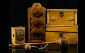 A Good Collection Of Mauchline Ware Items Five pieces in total to include 'New Bridge Westminster'